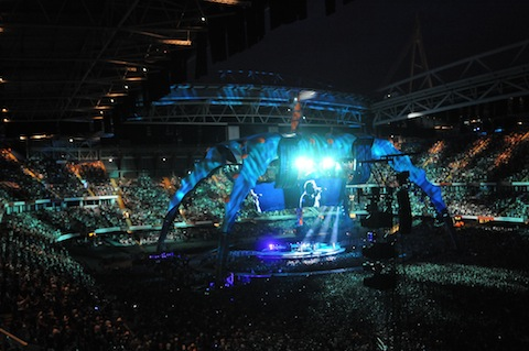 U2 on stage at the Millennium Stadium, Cardiff.