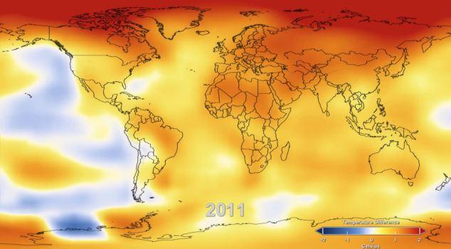 temperatura de la Tierra 2011