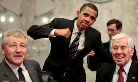 Chuck Hagel (left) with then-senator Barack Obama in 2007
