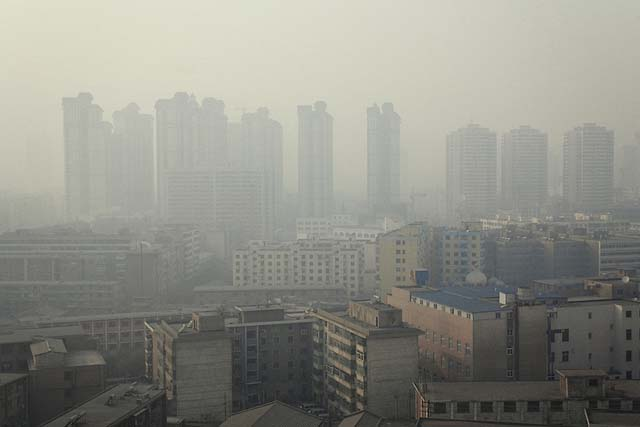Urbanization and pollution, Lanzhou, China.