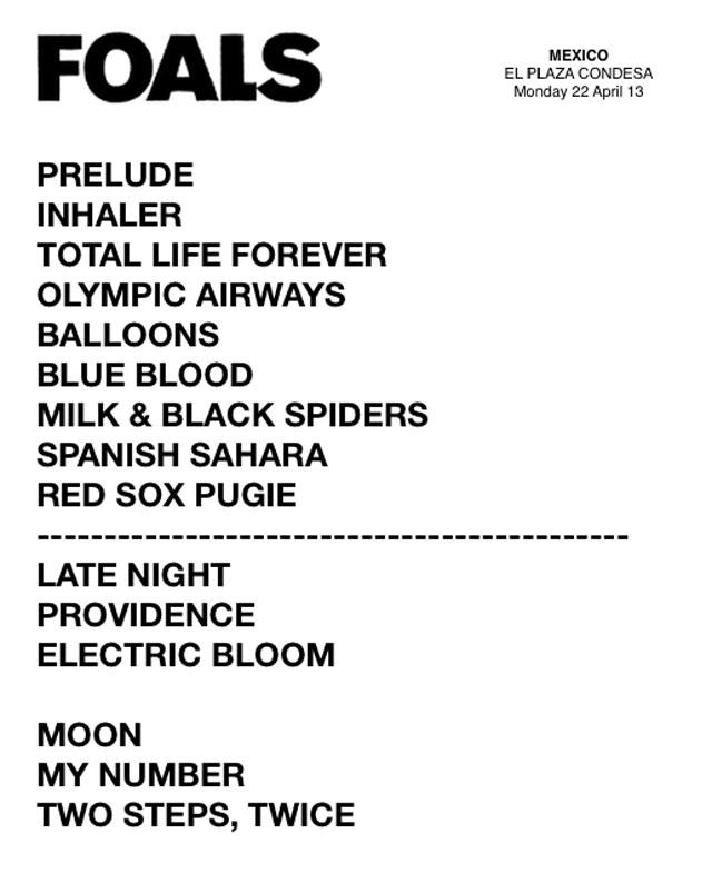 Foals-Plaza-Condesa-Setlist-1