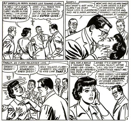 Superman aplicando el superbeso