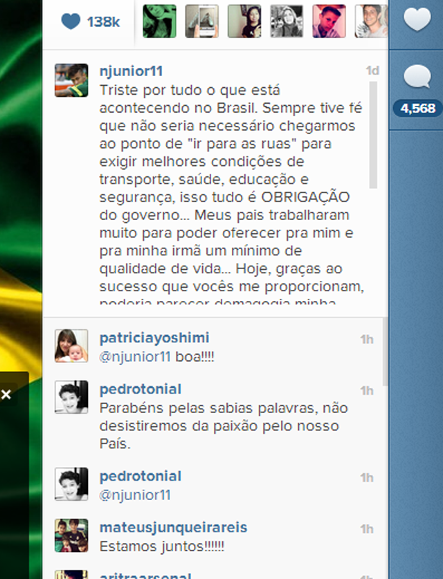 neymar protestas manifestaciones brasil