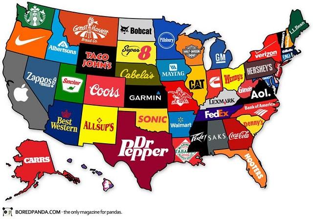 La manzana deApplese encuentra en California, las letras de Coca-Cola en Georgia y la sirena de Starbucks en el Estado de Washington.
