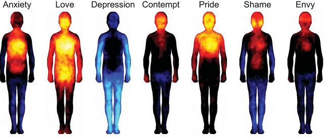 De izquierda a derecha: ansiedad, amor, depresión, desprecio, orgullo, vergüenza y envidia