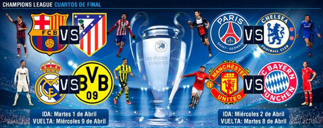 Así se jugarán los Cuartos de final de la UEFA Champions League y de ...
