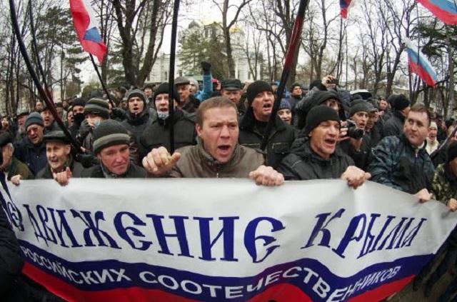 Manifestación en Crimea a favor de Rusia