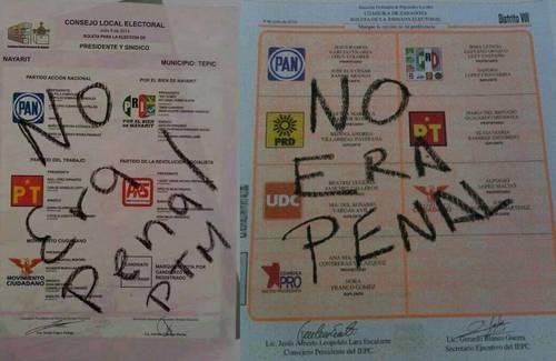 votaciones no era penal