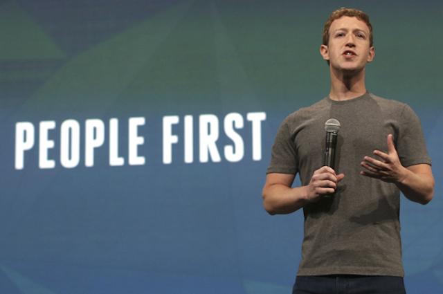 Facebook CEO Mark Zuckerberg addresses the audience during his keynote address at Facebook's f8 developers conference in San Francisco