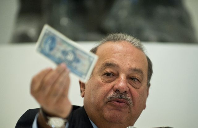 Mexican tycoon Carlos Slim speaks during