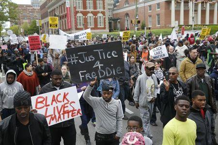 Protesters are gathered for a rally to protest the death of Freddie Gray who died following an arrest in Baltimore, Maryland April 25, 2015. REUTERS/Shannon Stapleton