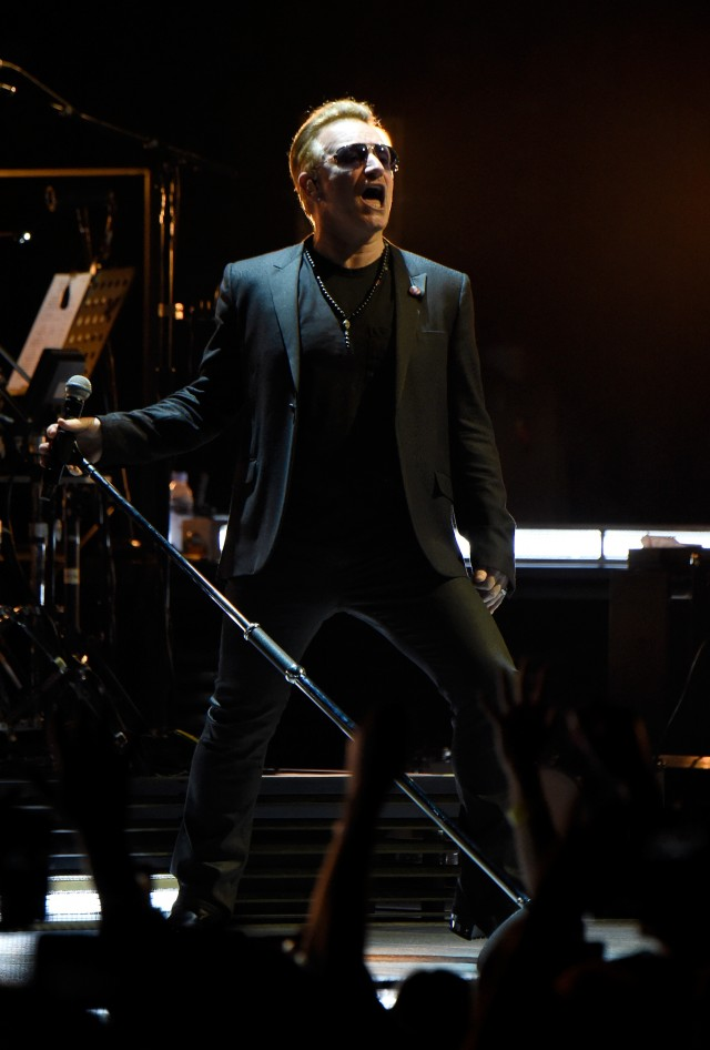 VANCOUVER, BC - MAY 14:  Musician Bono of U2 performs onstage during the U2 iNNOCENCE + eXPERIENCE tour opener in Vancouver at Rogers Arena on May 14, 2015 in Vancouver, Canada.  (Photo by Kevin Mazur/WireImage) *** Local Caption *** Bono