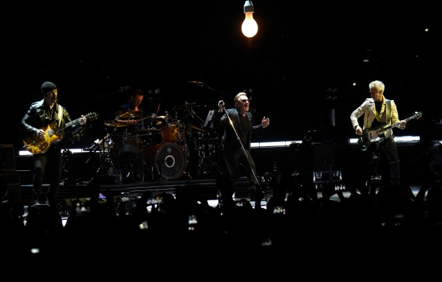 VANCOUVER, BC - MAY 14:  (L-R) Musicians The Edge, Larry Mullen Jr., Bono and Adam Clayton of U2 perform onstage during the U2 iNNOCENCE + eXPERIENCE tour opener in Vancouver at Rogers Arena on May 14, 2015 in Vancouver, Canada.  (Photo by Kevin Mazur/WireImage) *** Local Caption *** The Edge;Larry Mullen Jr.;Bono;Adam Clayton