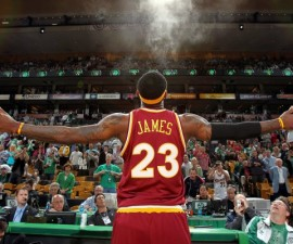 BOSTON - MAY 7:  LeBron James #23 of the Cleveland Cavaliers tosses powder into the air before taking on the Boston Celtics in Game Three of the Eastern Conference Semifinals during the 2010 NBA Playoffs on May 7, 2010 at TD Banknorth Garden in Boston, Massachusetts.  The Cavaliers won 124-95.  NOTE TO USER: User expressly acknowledges and agrees that, by downloading and/or using this Photograph, user is consenting to the terms and conditions of the Getty Images License Agreement. Mandatory Copyright Notice: Copyright 2010 NBAE (Photo by Nathaniel S. Butler/NBAE via Getty Images)
