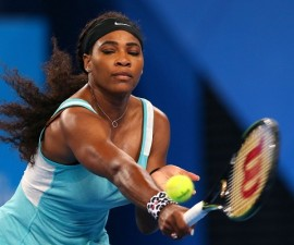 PERTH, AUSTRALIA - JANUARY 05:  Serena Williams of the United States plays a backhand in her match against Flavia Pennetta of Italy during day two of the 2015 Hopman Cup at Perth Arena on January 5, 2015 in Perth, Australia.  (Photo by Paul Kane/Getty Images) ORG XMIT: 517449931 ORIG FILE ID: 461032384