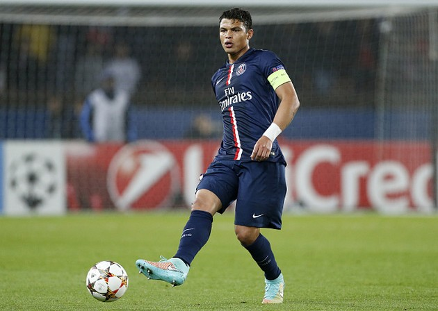 PARIS, FRANCE - NOVEMBER 05: Thiago Silva of PSG in action during the UEFA Champions League Group F match between Paris Saint-Germain FC and APOEL Nicosie at Parc des Princes on November 5, 2014 in Paris, France. (Photo by Jean Catuffe/Getty Images)