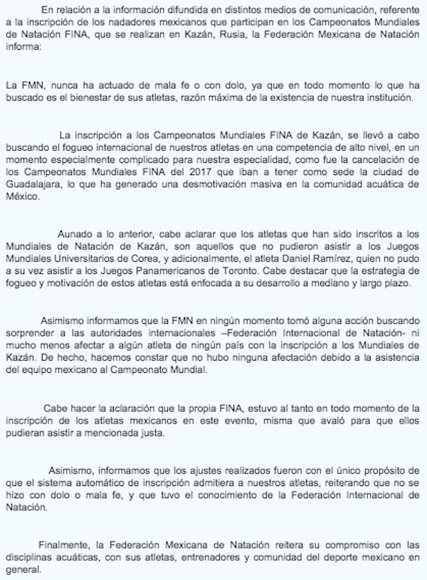 FMN-Comunicado-Fraude-Natación-Mundial de Natación
