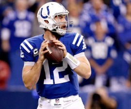 INDIANAPOLIS, IN - JANUARY 04: Quarterback Andrew Luck #12 of the Indianapolis Colts throws against the Cincinnati Bengals during their AFC Wild Card game at Lucas Oil Stadium on January 4, 2015 in Indianapolis, Indiana. (Photo by Kirk Irwin/Getty Images)