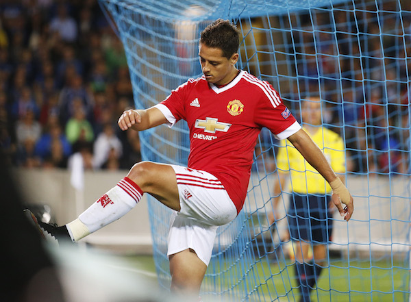 Football - Club Brugge v Manchester United - UEFA Champions League Qualifying Play-Off Second Leg - Jan Breydel Stadium, Bruges, Belgium - 26/8/15 Manchester United's Javier Hernandez kicks the advertising boards after missing a chance to score Action Images via Reuters / Carl Recine Livepic EDITORIAL USE ONLY.