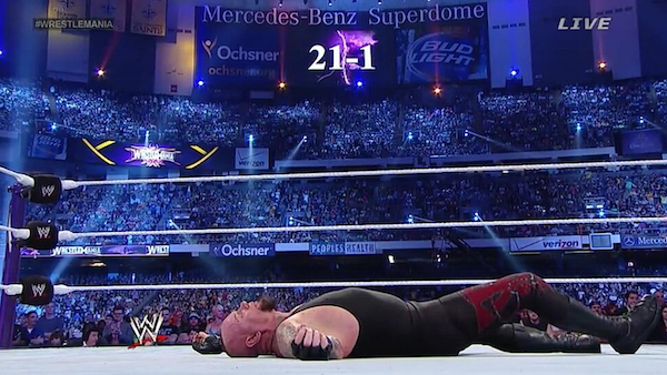 Undertaker loses at WrestleMania XXX