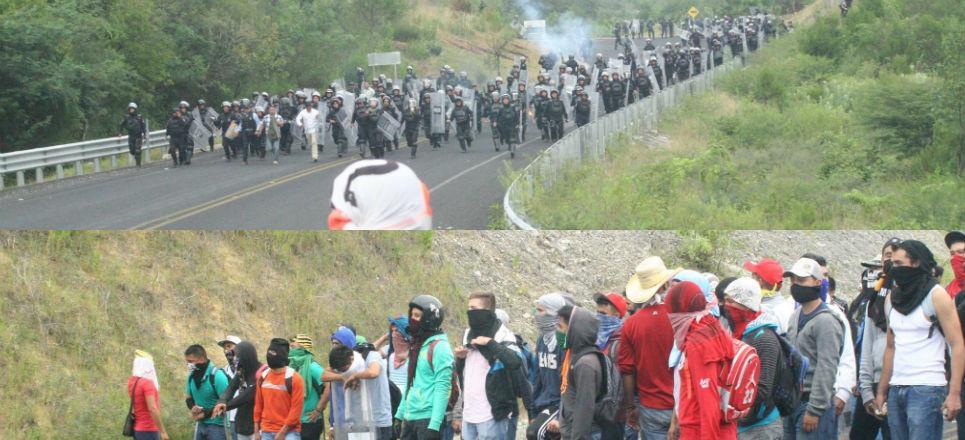 enfrentamiento policía normalistas
