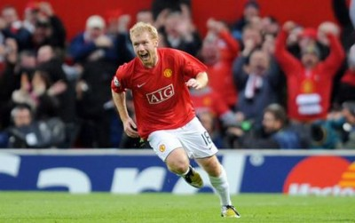 Manchester United's English midfielder Paul Scholes celebrates scoring against Barcelona during the second leg of their Champions League semi-final match.