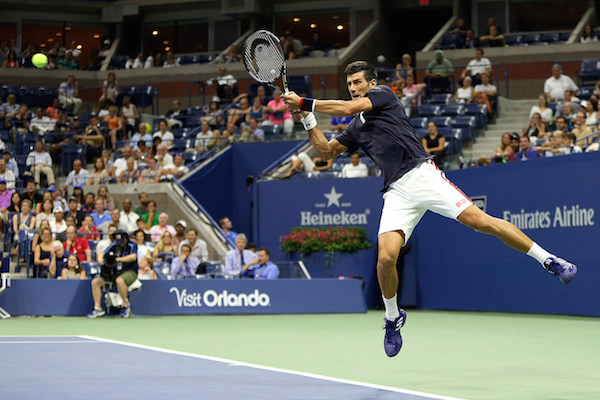 September 8, 2015 - Novak Djokovic in action against Feliciano Lopez (not pictured) in a men's singles quarterfinal match during the 2015 US Open at the USTA Billie Jean King National Tennis Center in Flushing, NY. (USTA/Michael LeBrecht)