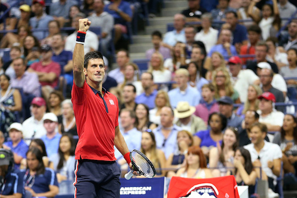 September 6, 2015 - Novak Djokovic reacts against Roberto Bautista Agut (not pictured) in a men's singles fourth-round match during the 2015 US Open at the USTA Billie Jean King National Tennis Center in Flushing, NY. (USTA/Ned Dishman)