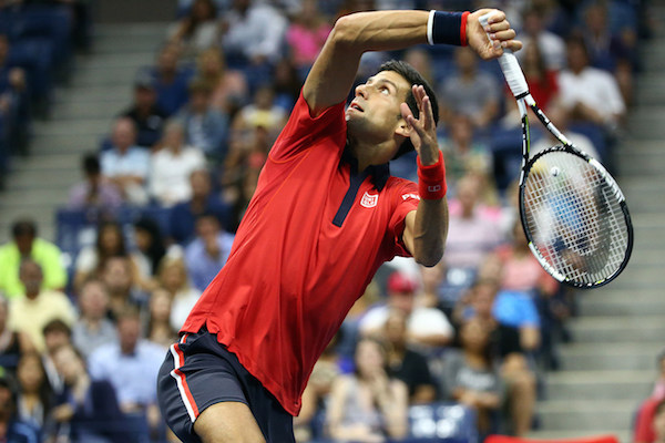 September 6, 2015 - Novak Djokovic in action in a men's singles fourth-round match against Roberto Bautista Agut during the 2015 US Open at the USTA Billie Jean King National Tennis Center in Flushing, NY. (USTA/Ned Dishman)