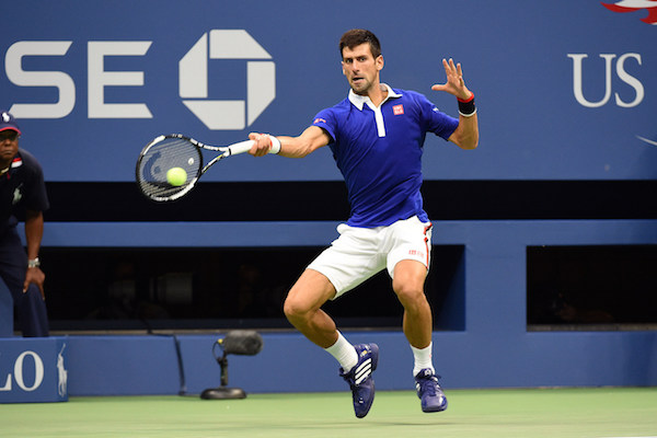 September 11, 2015 - Novak Djokovic in action against Marin Cilic (not pictured) in a men's singles semifinals match during the 2015 US Open at the USTA Billie Jean King National Tennis Center in Flushing, NY. (USTA/Garrett Ellwood)