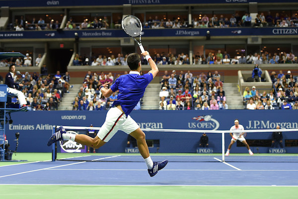 September 13, 2015 - Novak Djokovic in action against Roger Federer in the men's singles final match during the 2015 US Open at the USTA Billie Jean King National Tennis Center in Flushing, NY. (USTA/Pete Staples)
