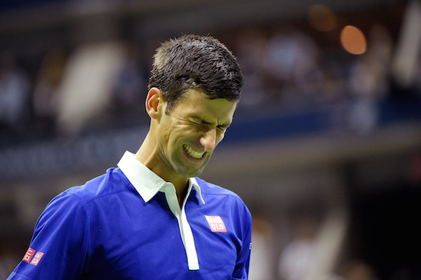 September 13, 2015 - Novak Djokovic reacts against Roger Federer (not pictured) in the men's singles final match during the 2015 US Open at the USTA Billie Jean King National Tennis Center in Flushing, NY. (USTA/Pete Staples)