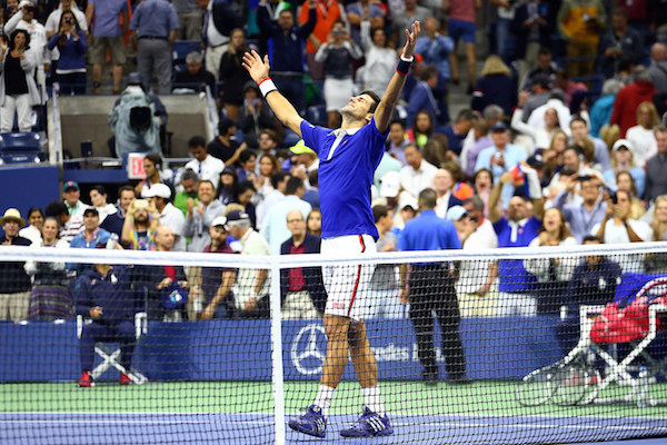 September 13, 2015 - Novak Djokovic reacts after defeating Roger Federer (not pictured) in the men's singles final match during the 2015 US Open at the USTA Billie Jean King National Tennis Center in Flushing, NY. (USTA/Ned Dishman)