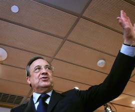 Real Madrid's president Florentino Perez leaves after a news conference at Bernabeu stadium in Madrid, Spain, Wednesday May 26, 2010,  where he explained the reasons for the sacking of coach Manuel Pellegrini. (AP Photo/Arturo Rodriguez)
