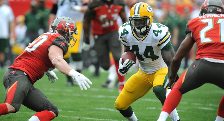 TAMPA, FL - DECEMBER 21: Running back James Starks #44 of the Green Bay Packers runs with the ball against the Tampa Bay Buccaneers in the second quarter at Raymond James Stadium on December 21, 2014 in Tampa, Florida. (Photo by Cliff McBride/Getty Images)