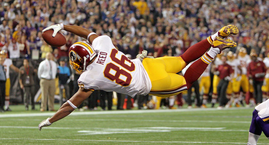 Nov 7, 2013; Minneapolis, MN, USA; Washington Redskins tight end Jordan Reed (86) dives for a touchdown pass during the second quarter against the Minnesota Vikings at Mall of America Field at H.H.H. Metrodome. Mandatory Credit: Brace Hemmelgarn-USA TODAY Sports