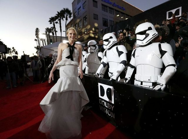 """Actress Gwendoline Christie arrives at the premiere of """"Star Wars: The Force Awakens"""" in Hollywood, California December 14, 2015. REUTERS/Mario Anzuoni"""