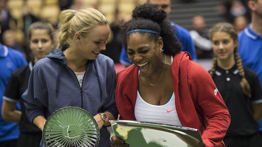 Caroline Wozniacki of Denmark won against Serena Williams of the U.S. in their Champions Battle exhibition tennis match in Herning