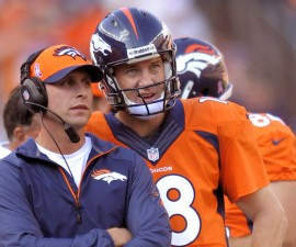 """CORRECTS FIRST NAME FOR GASE TO ADAM, INSTEAD OF RICK - In this Oct. 13, 2013, photo, Denver Broncos quarterback Peyton Manning and offensive coordinator Adam Gase look at the scoreboard during an NFL football game against the Jacksonville Jaguars in Denver. John Elway, the Broncos' executive vice president, has high praise of Gase, whom he called """"studly"""" for putting off interviews for head coaching vacancies until after Denver's season is over and says he would have loved to play for the Broncos' aggressive play-caller. (AP Photo/Jack Dempsey)"""