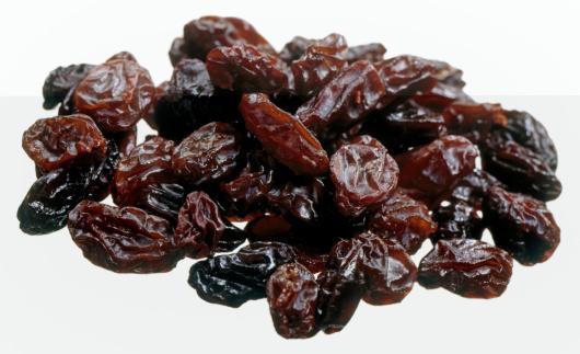Pile of raisins, studio shot, close-up