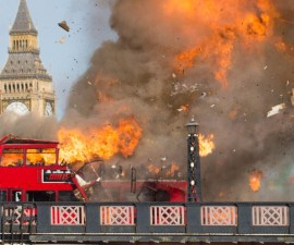 A bus explodes during the filming of the new Jackie Chan movie 'The Foreigner' on Lambeth Bridge, London  Featuring: Atmopshere Where: London, United Kingdom When: 07 Feb 2016 Credit: WENN.com