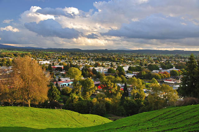 View of town from Colson Hill Lookout, Tokoroa, Waikato Region, North Island, New Zealand