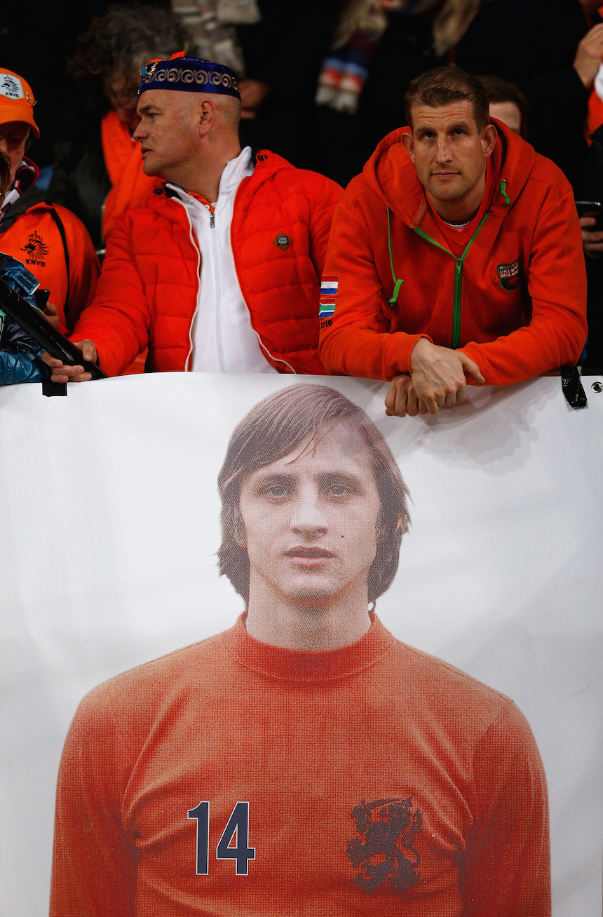 AMSTERDAM, NETHERLANDS - MARCH 25: Dutch fans display a picture of Johan Cruyff of Netherlands prior to the International Friendly match between Netherlands and France at Amsterdam Arena on March 25, 2016 in Amsterdam, Netherlands. (Photo by Dean Mouhtaropoulos/Getty Images)