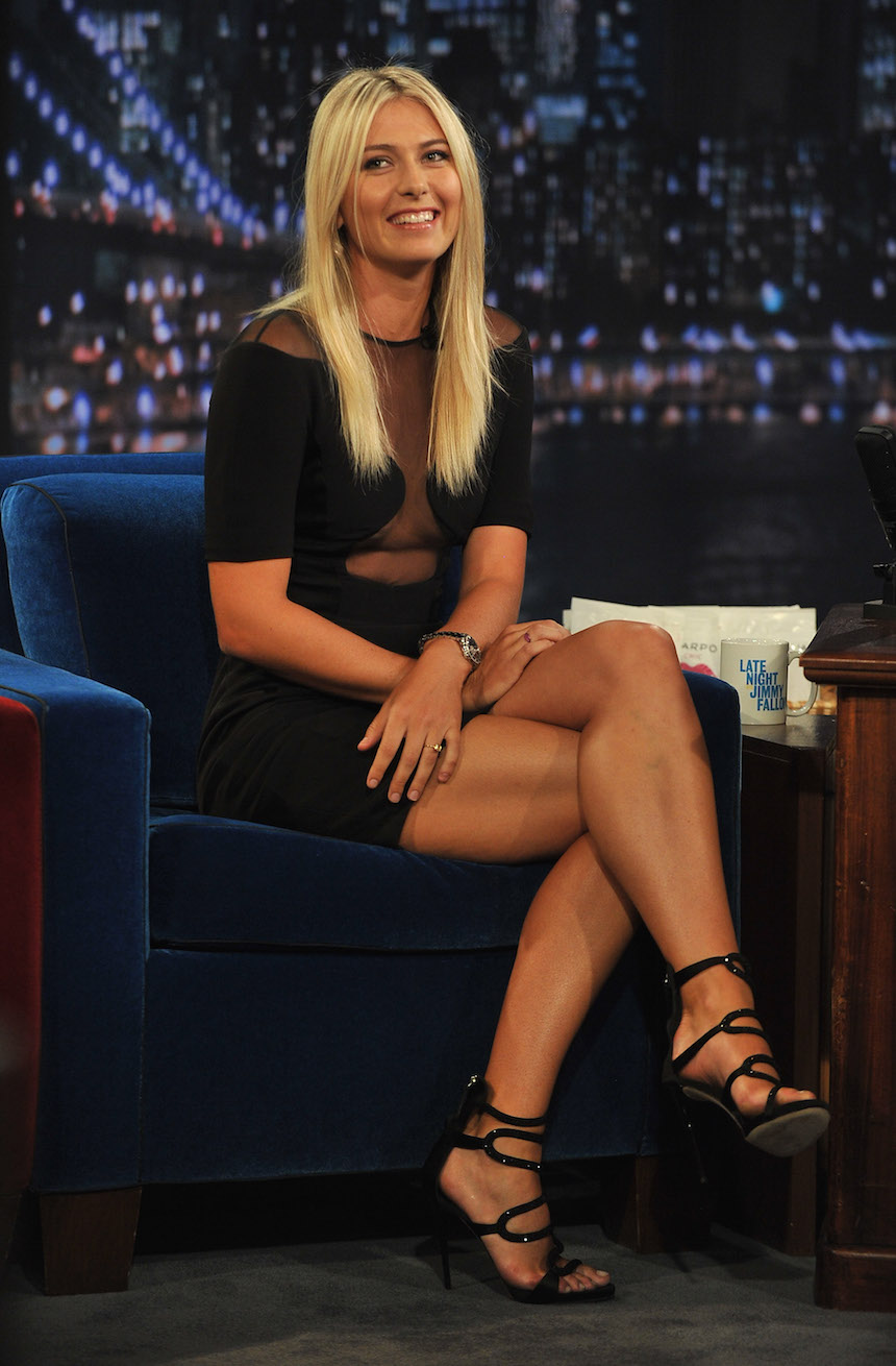 "NEW YORK, NY - AUGUST 20: Maria Sharapova visits ""Late Night With Jimmy Fallon"" at Rockefeller Center on August 20, 2012 in New York City. (Photo by Theo Wargo/Getty Images)"