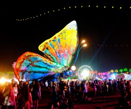 INDIO, CA - APRIL 12:  Papilio Merraculous art installation by Poetic Kinetics is seen during day 3 of the 2015 Coachella Valley Music & Arts Festival (Weekend 1) at the Empire Polo Club on April 12, 2015 in Indio, California.  (Photo by Frazer Harrison/Getty Images for Coachella)