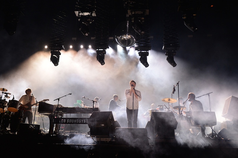 INDIO, CA - APRIL 15: (L-R) Recording artists Al Doyle, Gavin Russom, James Murphy, and Pat Mahoney of LCD Soundsystem perform onstage during day 1 of the 2016 Coachella Valley Music & Arts Festival Weekend 1 at the Empire Polo Club on April 15, 2016 in Indio, California. (Photo by Kevin Winter/Getty Images for Coachella)