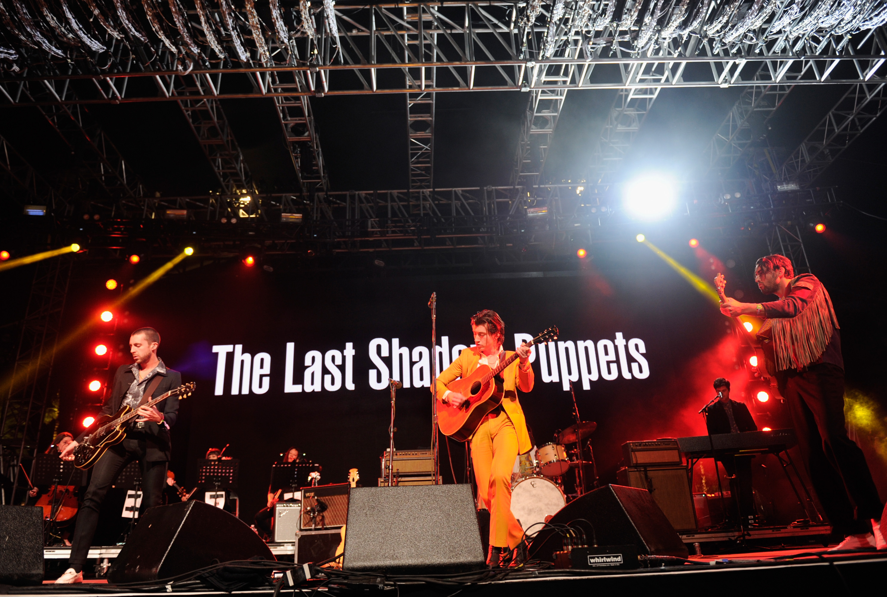 INDIO, CA - APRIL 15: (L-R) Musicians Miles Kane, Alex Turner, and Zach Dawes of The Last Shadow Puppets perform onstage during day 1 of the 2016 Coachella Valley Music & Arts Festival Weekend 1 at the Empire Polo Club on April 15, 2016 in Indio, California. (Photo by Emma McIntyre/Getty Images for Coachella)