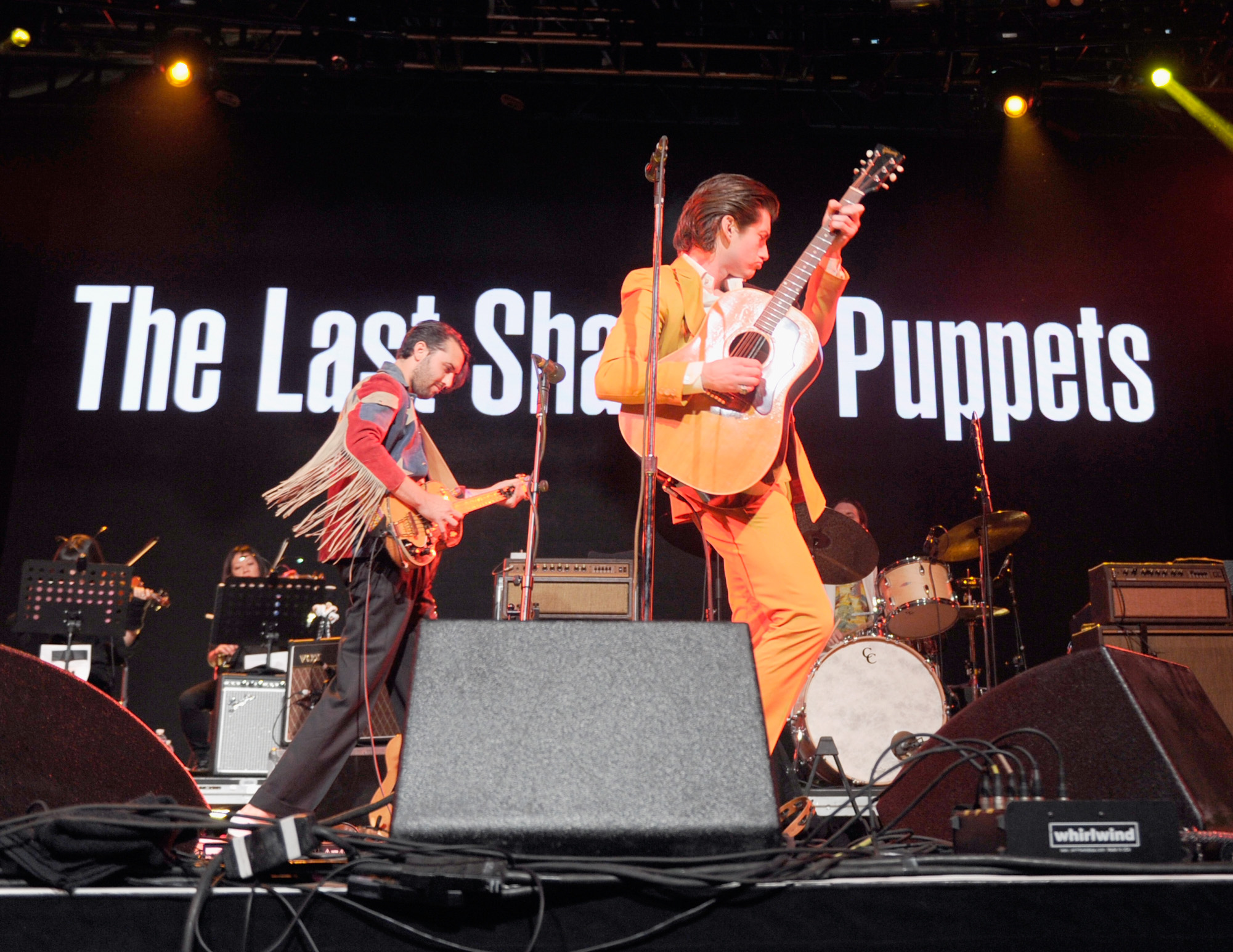 INDIO, CA - APRIL 15: Musicians Zach Dawes (L) and Alex Turner of The Last Shadow Puppets perform onstage during day 1 of the 2016 Coachella Valley Music & Arts Festival Weekend 1 at the Empire Polo Club on April 15, 2016 in Indio, California. (Photo by Emma McIntyre/Getty Images for Coachella)