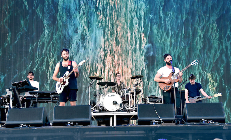 INDIO, CA - APRIL 15: (L-R) Edwin Congreave, Jimmy Smith, Jack Bevan, Yannis Philippakis and Walter Gervers of Foals perform onstage during day 1 of the 2016 Coachella Valley Music & Arts Festival Weekend 1 at the Empire Polo Club on April 15, 2016 in Indio, California. (Photo by Kevin Winter/Getty Images for Coachella)