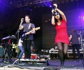 LORNE, AUSTRALIA - DECEMBER 31:  Thom Powers and Alisa Xayalith of The Naked And Famous perform on stage on day three of the Falls Music Festival on December 31, 2011 in Lorne, Australia.  (Photo by Mark Metcalfe/Getty Images)